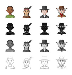 Different race of negro indian jew american vector