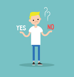 difficult decision yes or no conceptual young vector image