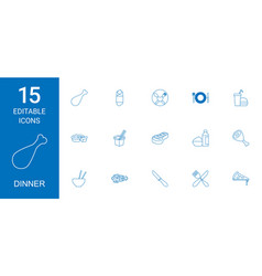 Dinner icons vector