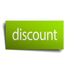 Discount green paper sign on white background vector