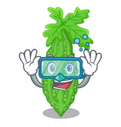 Diving bitter melon gourd on shape cartoon vector