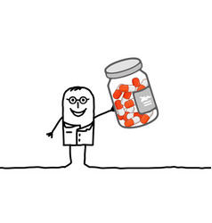 doctor with bottle of medicine capsules vector image