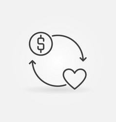 Donate money round concept outline icon vector