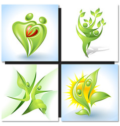 Eco-icon with green dancers vector