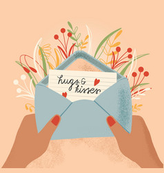 Envelope with love letter and hands colorful vector