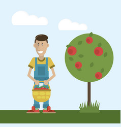 Farmer and basket with apples vector