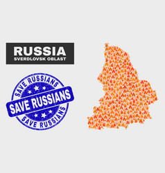 Fire mosaic sverdlovsk region map and scratched vector