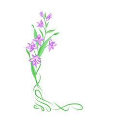 Floral bouquet frame swirl vignette border vector