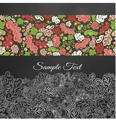 Floral doodle card in white tones vector