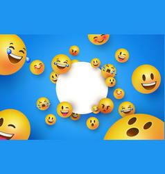 Fun yellow smiley icon white circle frame template vector