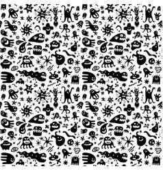 Funny microbes seamless pattern graphic design vector