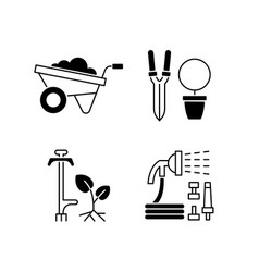 garden accessories black linear icons set vector image