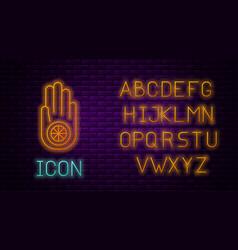 Glowing neon line symbol jainism or jain dharma vector