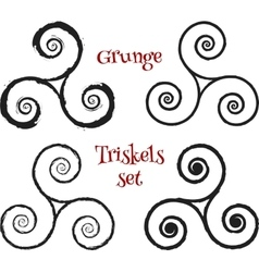 Grunge brush drawn triskels set vector