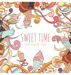 Hand drawn background of sweet elements vector