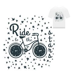 hand drawn vintage print label with bicycle vector image