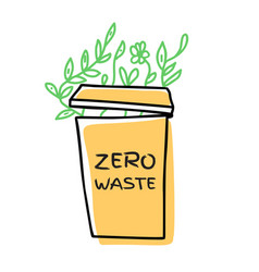 hand drawn zero waste vector image