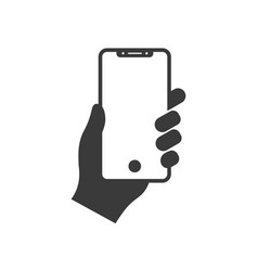 hand holding modern mobile phone icon vector image