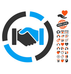 handshake diagram icon with valentine bonus vector image vector image
