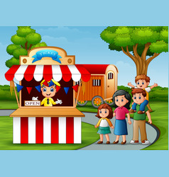 Happy family in the amusement park vector