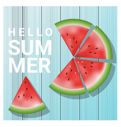 Hello summer background with watermelon vector