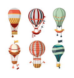 Hot air balloon retro icons bon voyage vector
