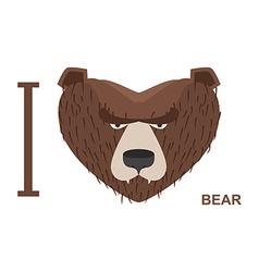 I love bear Symbol heart bear head for wil vector