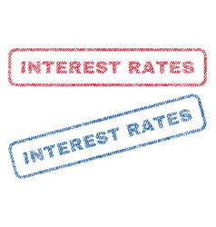 Interest rates textile stamps vector