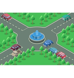 Isometric roundabout road vector