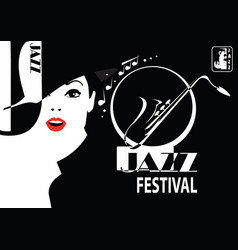 Jazz festival retro a poster with stylish vector