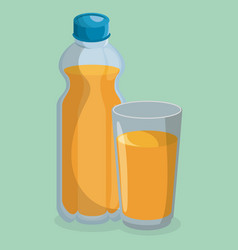 juice bottle and glass vector image