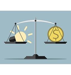 Lightbulb money and balance vector image