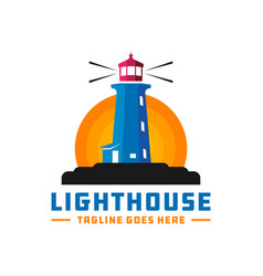 lighthouse logo on a rock vector image