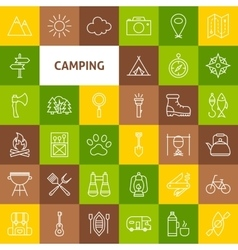 Line Camping Icons vector