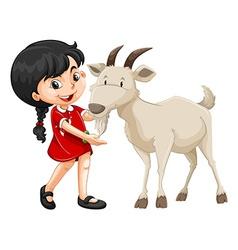 Little girl and white goat vector image