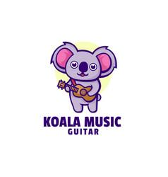 Logo koala music mascot cartoon style vector