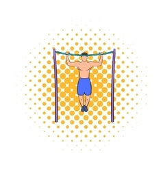 Man pulling up on horizontal bar icon comics style vector image