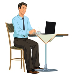 man with a laptop vector image
