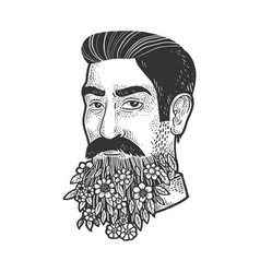 man with blooming beard sketch vector image