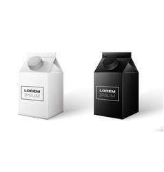 Milk juice beverages carton package vector