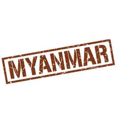 Myanmar brown square stamp vector
