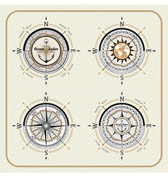 Nautical vintage compass set vector