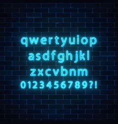 Neon style font glowing neon alphabet with vector