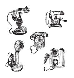 Old vintage telephone vector