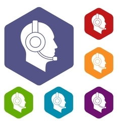Operator in headset icons set vector image