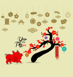 Oriental happy chinese new year 2019 blossom pig vector