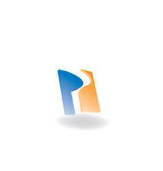 p letter 3d logo design vector image
