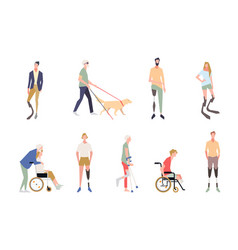 people with disabilities in style of vector image