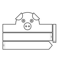 Pig coloring headband vector