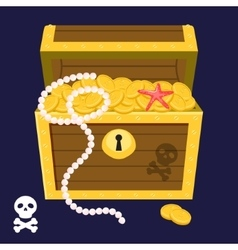 pirate treasure chest full gold coins and pearl vector image